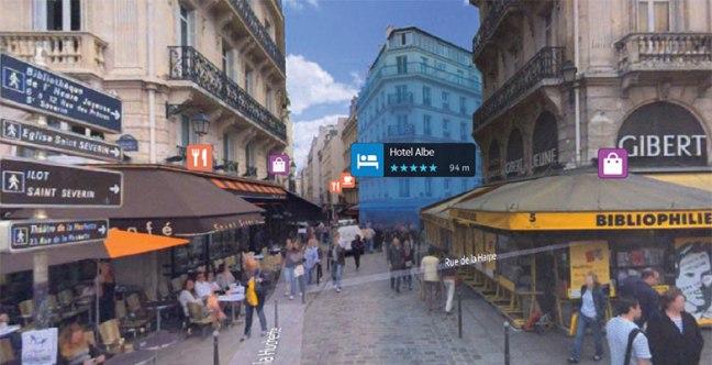 Een impressie van de virtual reality-navigatie van Samsung Gear en HERE. Bron: HERE.com